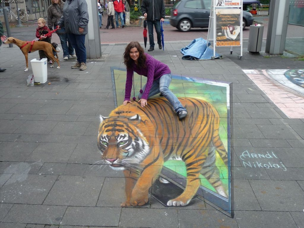 tiger_street_art 45 Stunning 3D Paintings for Decoration