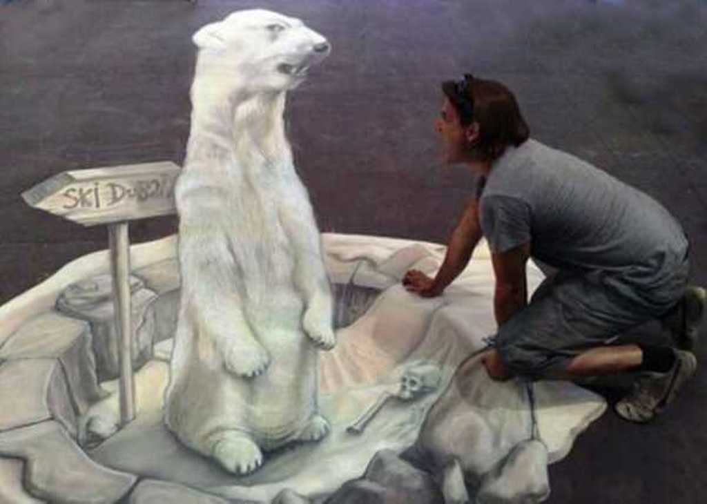 white-bear-painting-on-floor 45 Stunning 3D Paintings for Decoration