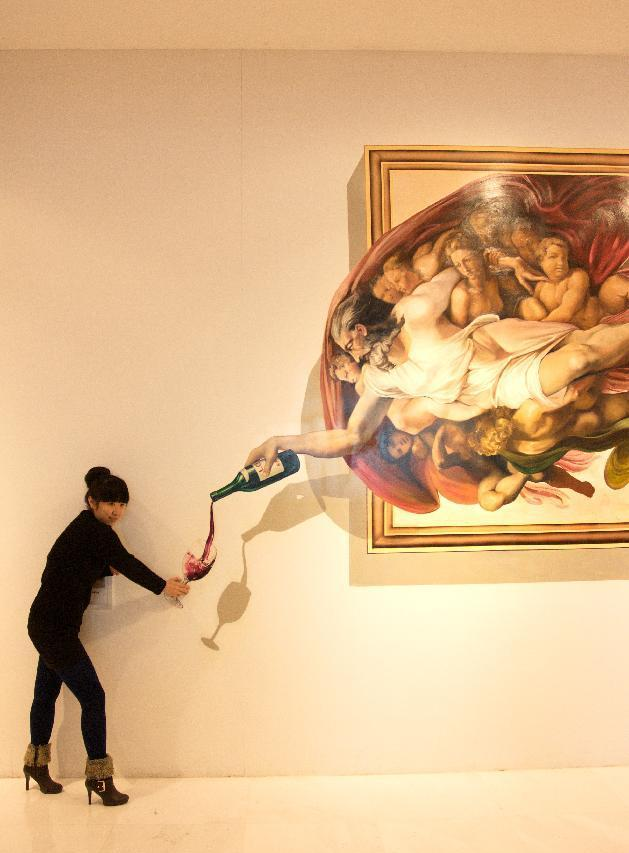 wine 45 Stunning 3D Paintings for Decoration
