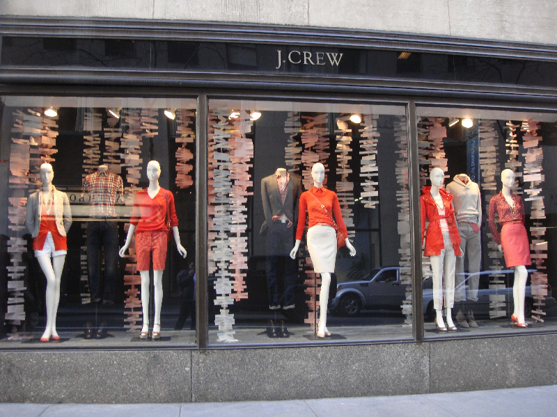 4-retail-windows-screen-print-digtial-flated-printing-die-cut-j-crew-hanging 15 Tips for How to Design Your Retail store