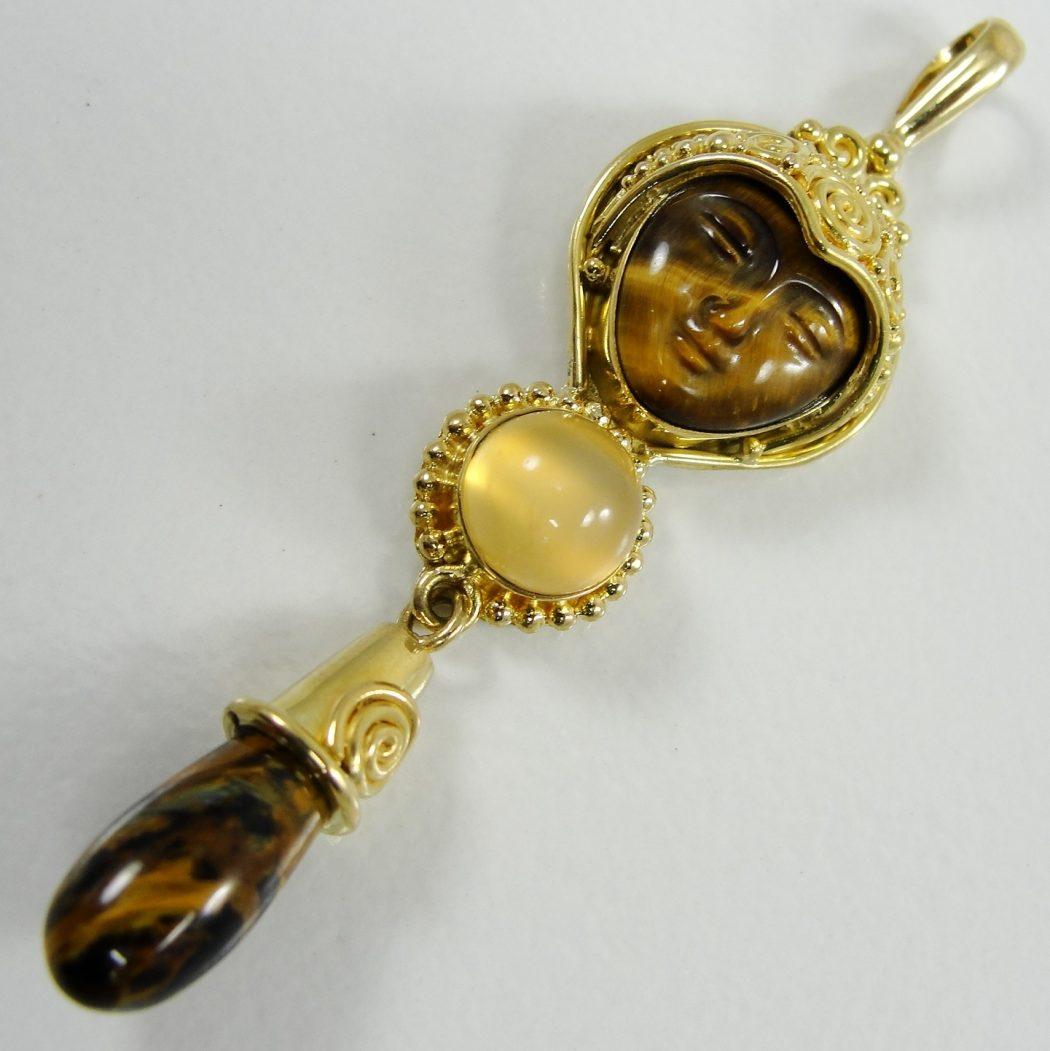 8K-Yellow-Gold-Sajen-Goddess-Pendant-Tiger-Eye-Cat-Eye-Pietersite-Briolette 35 Goddess Jewelries for Those Who Like History