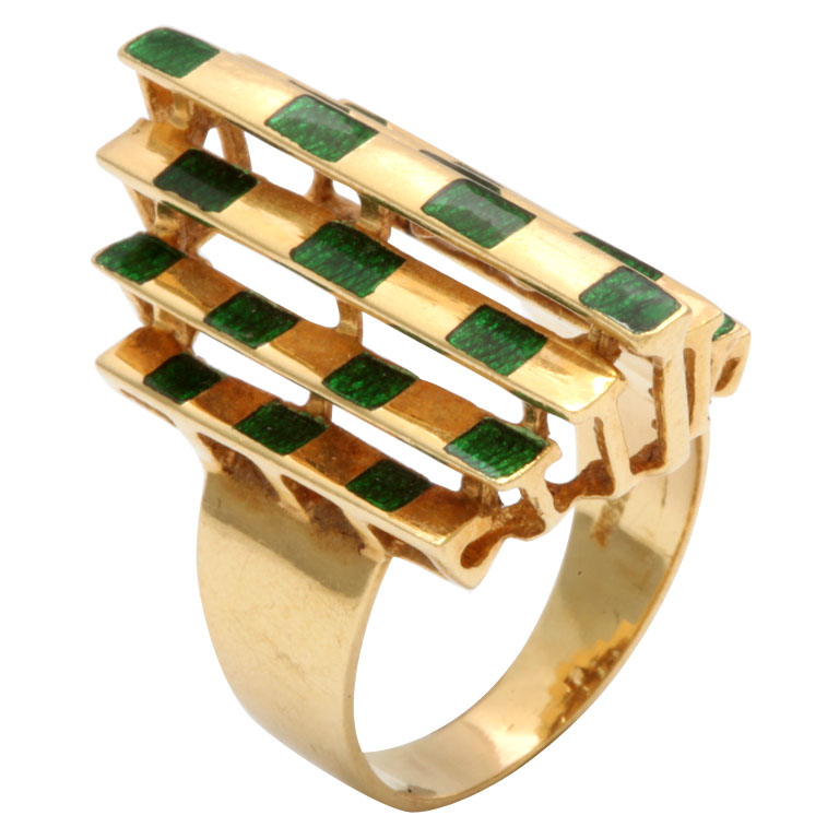 Architectural-Enamel-tower-Ring 15 Most Stylish Architectural Jewelry