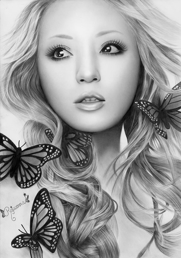 BUTTERFLY-BEAUTY-small-by-Rajacenna Stunningly And Incredibly Realistic Pencil Portraits