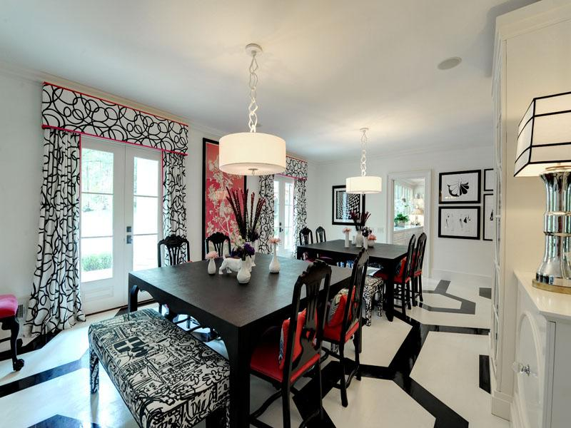 Black-white-red-dining-room 25 Elegant Black And White Dining Room Designs