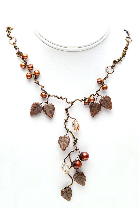 Brown-Statement-crystals-and-pearls-Necklace-Nature-Inspired-Jewelry-Fairy-Necklace-Art-Nouveau-Jewelry Best 30 Inspiring Jewelry Designs