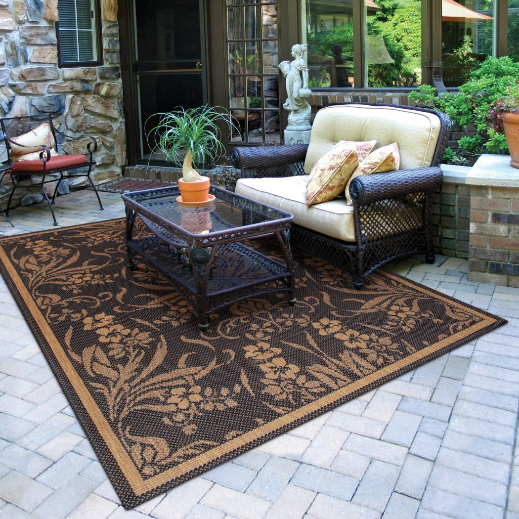Carpet-Photos-Floral-Pattern-Couristan-Recife-Garden-Cottage-Indoor-Outdoor-Rug 3 Tips Of How To Choose An Outdoor Rug To Your Patio