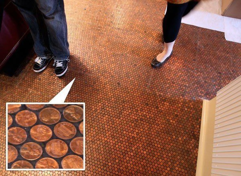 Copper-coin-Penny-Floor. 10 Most Unique Flooring Designs For Exhibition