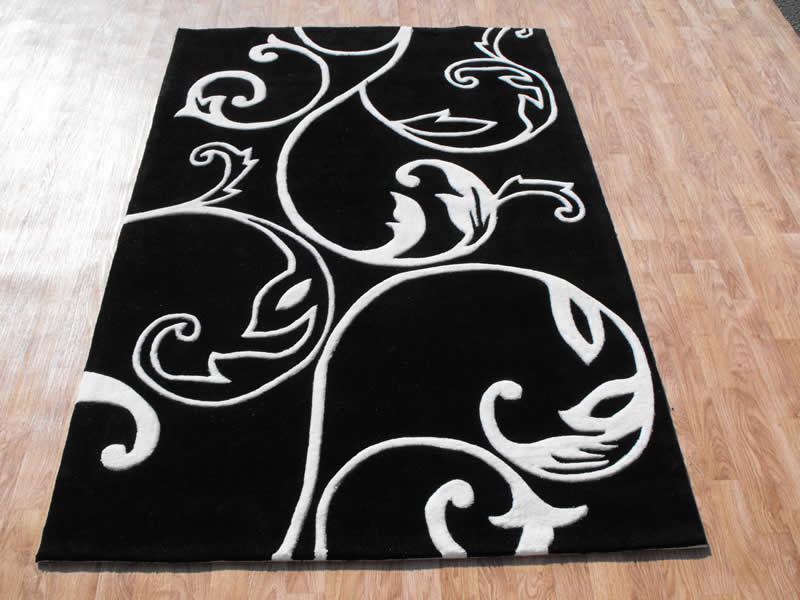 Eden-ED-06-Black-White-Rug-M 25 Elegant Black And White Dining Room Designs