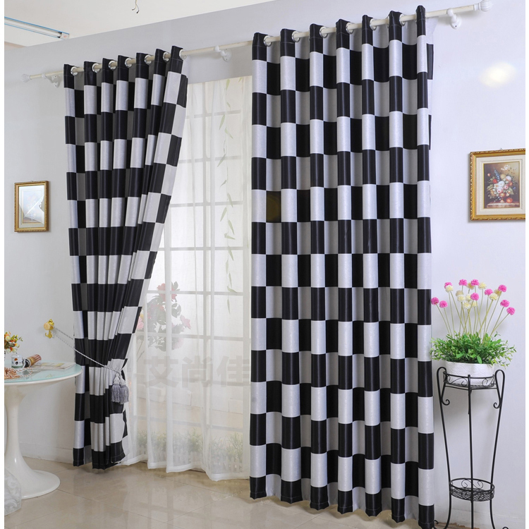 Fashionable-Check-Plaid-Black-and-White-Plaid-Blackout-Curtains-Two-Panels-C0315 25 Elegant Black And White Dining Room Designs