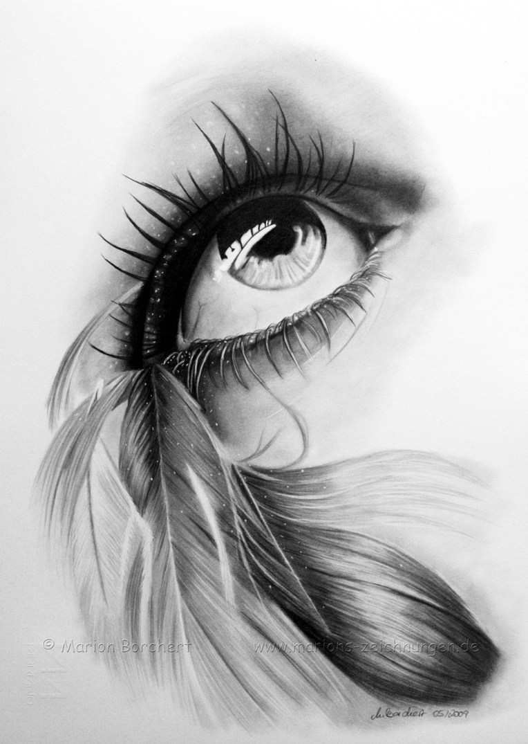 Feathered_eye_by_witchi1976 Stunningly And Incredibly Realistic Pencil Portraits