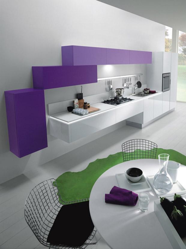 Futuristic-Kitchens-White-and-Purple Top 25 Futuristic Kitchen Designs
