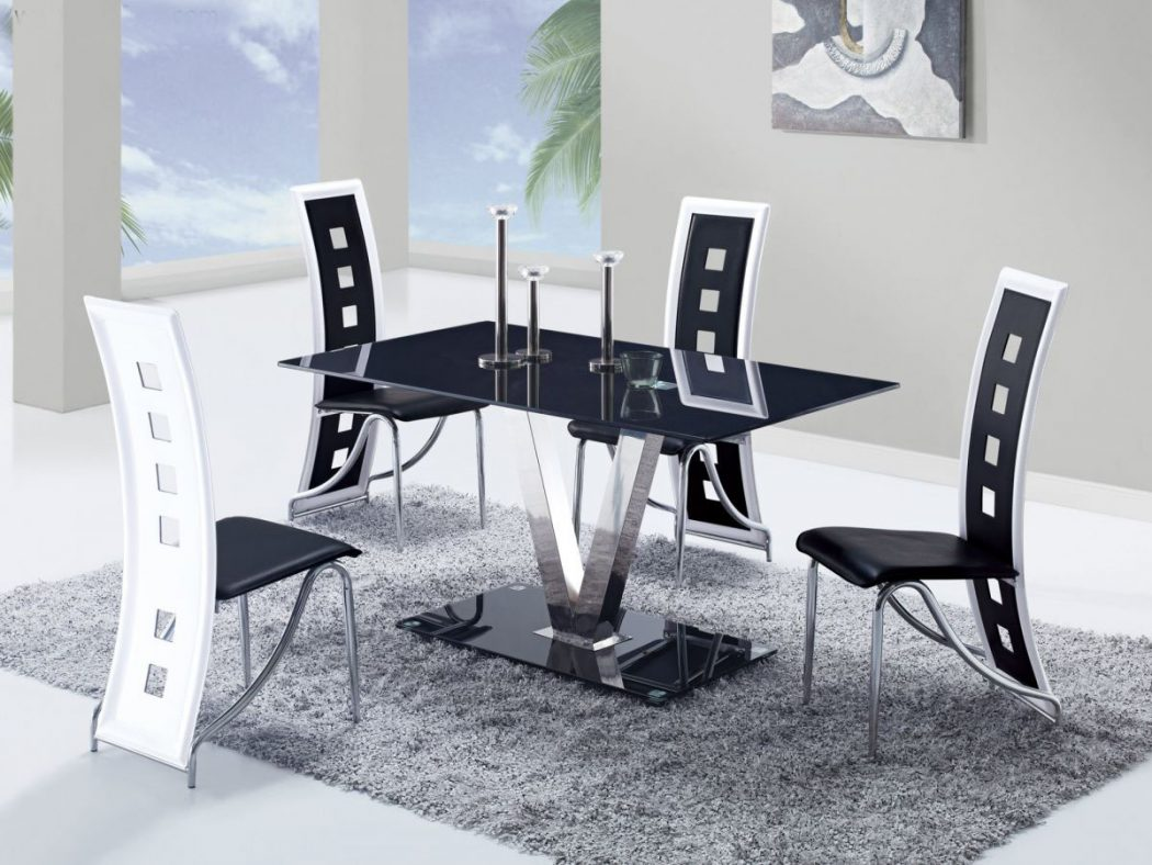 GF-551-black-white-kitchen-set 25 Elegant Black And White Dining Room Designs