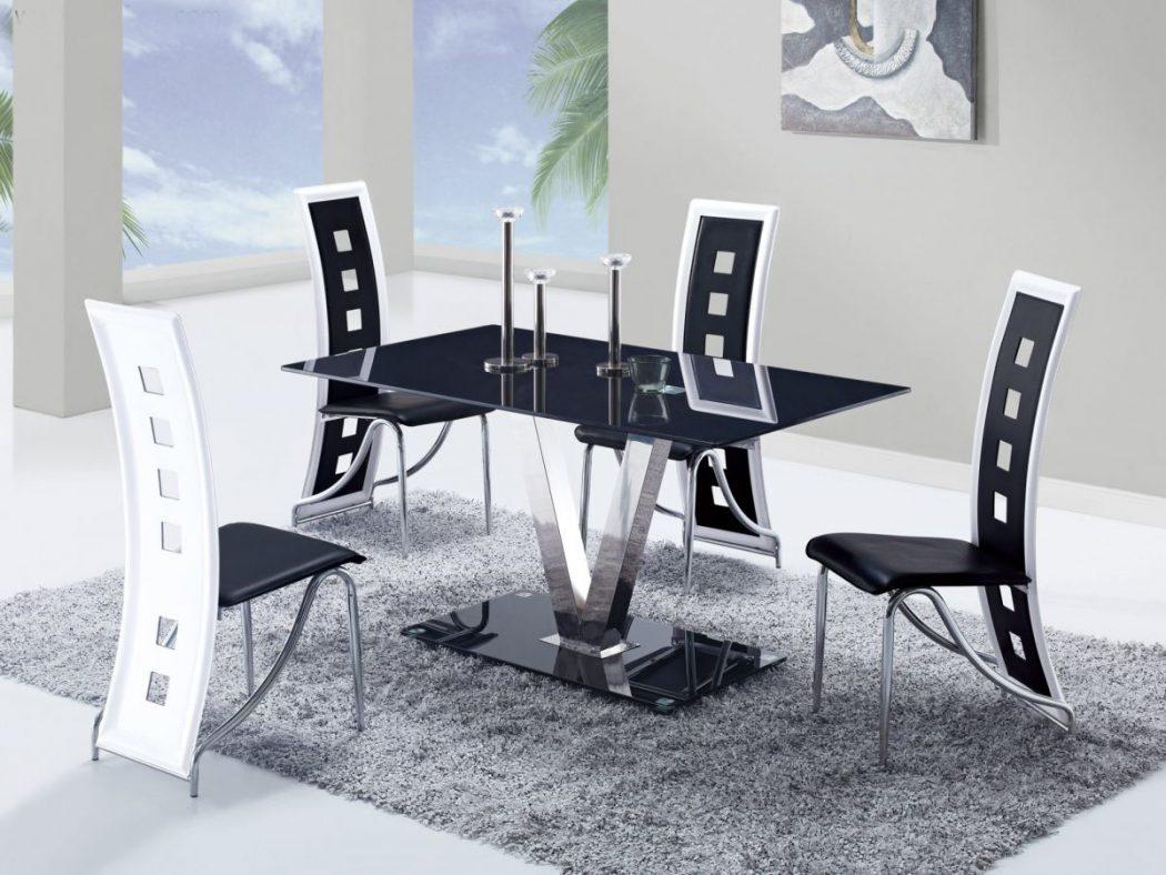 GF-551-black-white-kitchen-set 25 Elegant Black And White Dining Room Designs