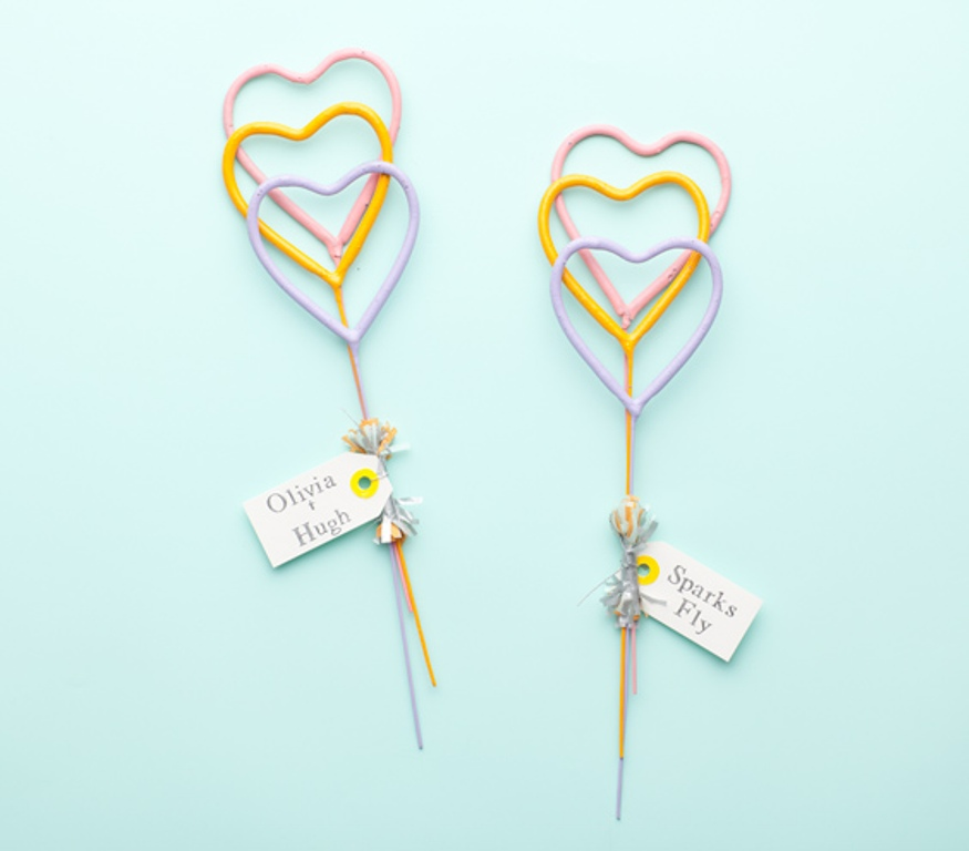 Heart-shaped-sparklers 20 unique wedding giveaways ideas