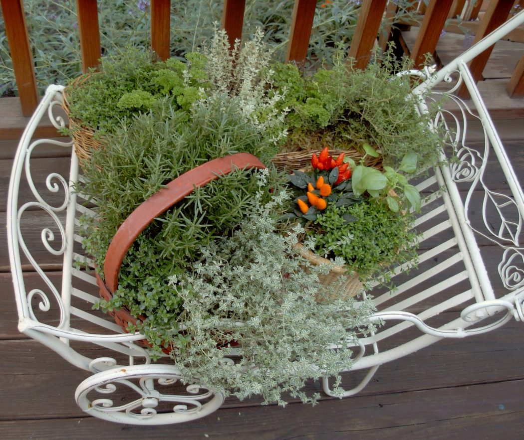 Herb-Wagon 10 Fascinating and Unique Ideas for Portable Gardens