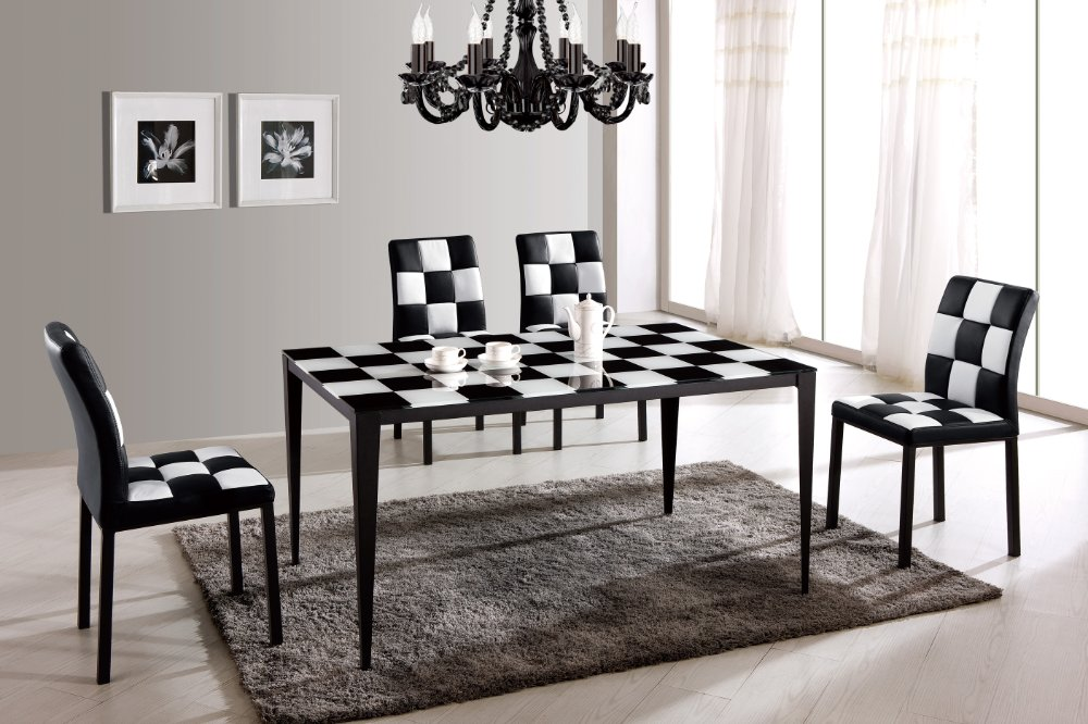 High-grade-stainless-steel-modern-dinner-font-b-table-b-font-BH72-black-font-b-painting 25 Elegant Black And White Dining Room Designs