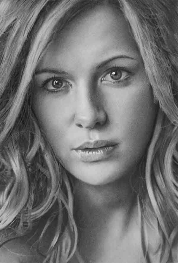 Kate-Beckinsale-pencil-drawing Stunningly And Incredibly Realistic Pencil Portraits