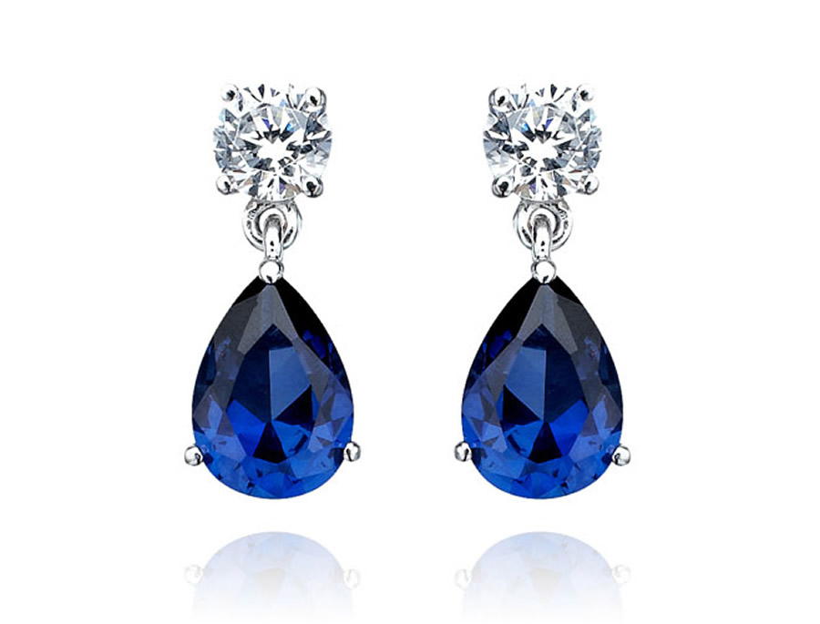 Luxury Elegant Sumptuous Sapphire Jewelry Design of Pear Shaped Earrings for
