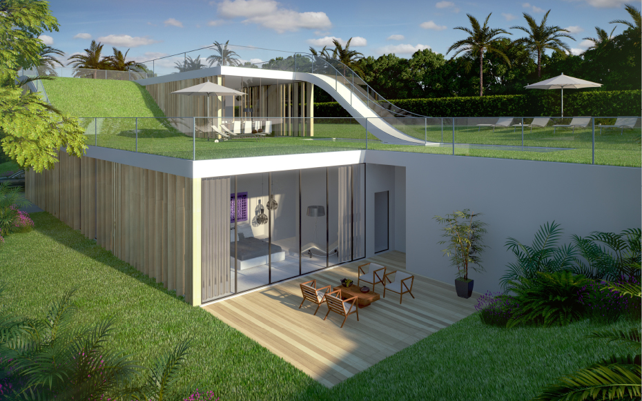Modern-house-design-curved-roof-garden-innovation1-on-Archinspire Decorating The Roof To Look Like A Paradise