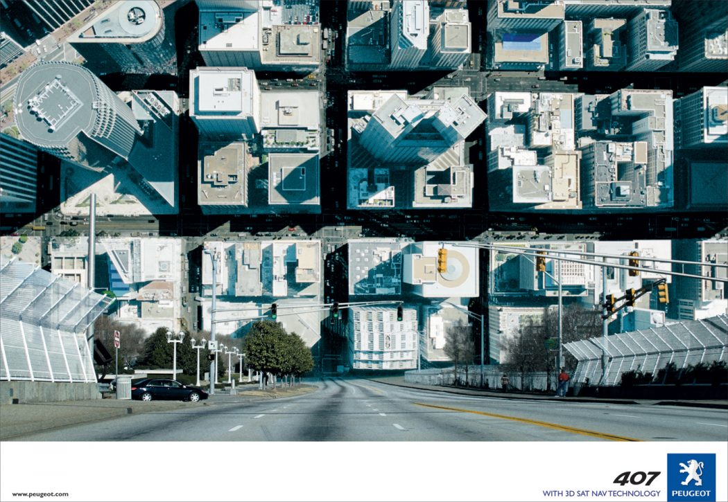 Peugeot-3D-Sat-Nav-City 40 Most Creative and Dazzling Auto Ads