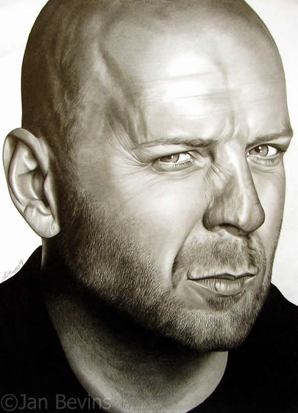 Portrait-of-Bruce-Willis Stunningly And Incredibly Realistic Pencil Portraits