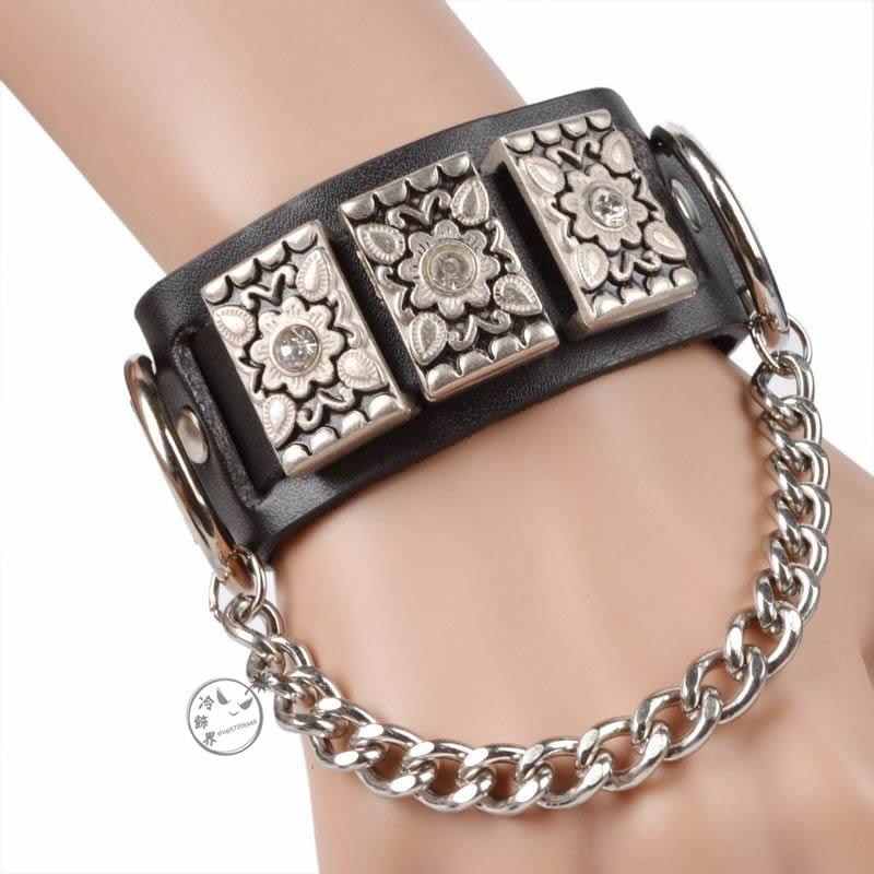 Punk-male-women-s-accessories-fashion-diamond-bracelets-wide-luxury-black-bracelet-friendship-bracelet 25+ Latest Celebrity Accessories Trends for 2019