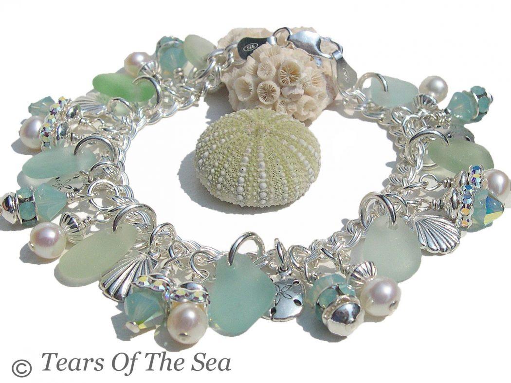 Sea-Glass-Jewelry-Aqua-Charm-Sea-Glass-Pearl-Bracelet The Best Jewelry Pieces That Women Like