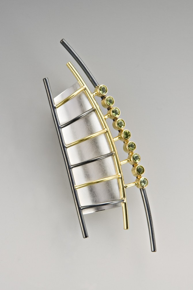 Sterling-and-Oxidized-Silver-Gold-and-Peridot-Brooch-by-Janis-Kerman-Design-at-CustomMade.com_-670x1005 15 Most Stylish Architectural Jewelry