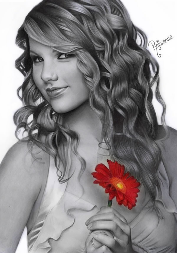Taylor-Swift_By_Rajacenna Stunningly And Incredibly Realistic Pencil Portraits