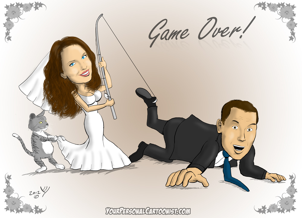 WeddingCaricature-BrideGroomFishingPole-YPC Do You Know How To Draw Caricatures?