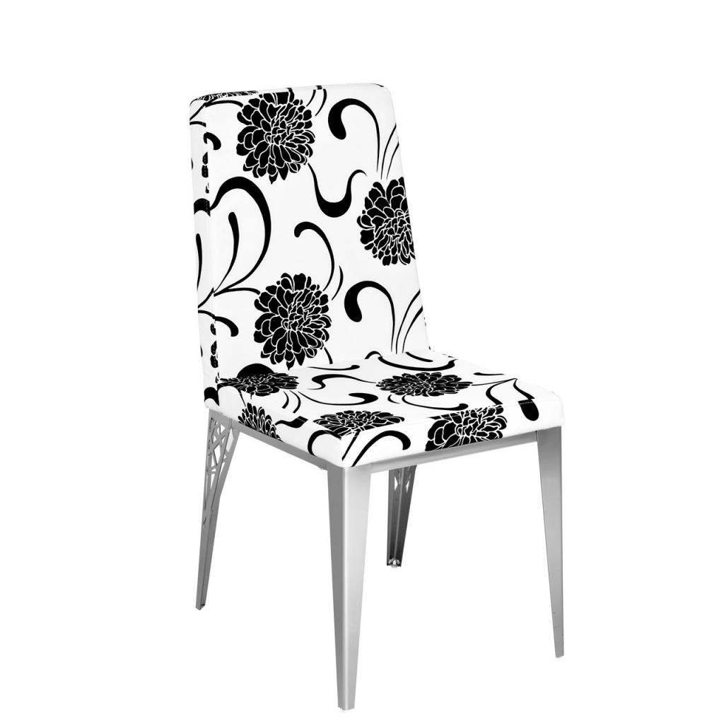 be2446-white-and-black-floral-leather-effect-dining-chair-NTnH 25 Elegant Black And White Dining Room Designs