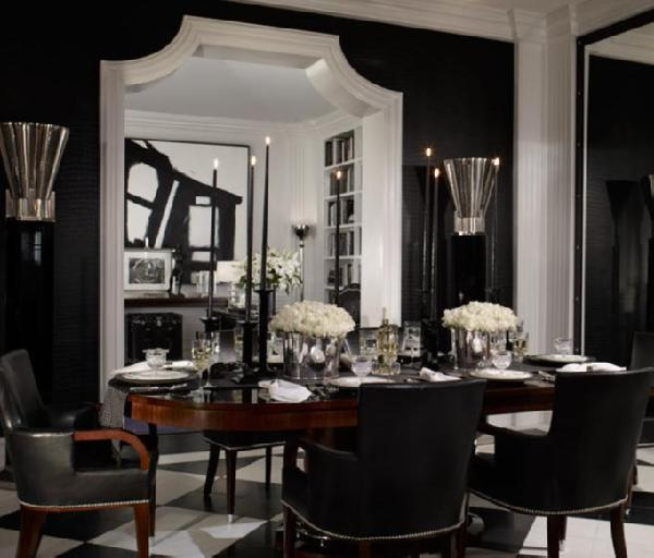 black-dining-room 25 Elegant Black And White Dining Room Designs