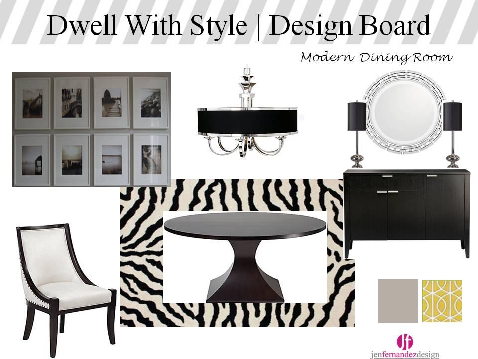 blogmoodboardmondaydining1 25 Elegant Black And White Dining Room Designs