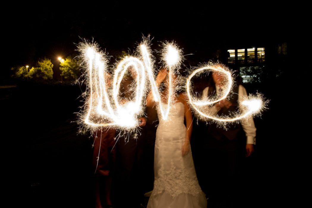 bride-groom-spell-love-with-sparklers-wedding-reception-pictures.original 20 unique wedding giveaways ideas