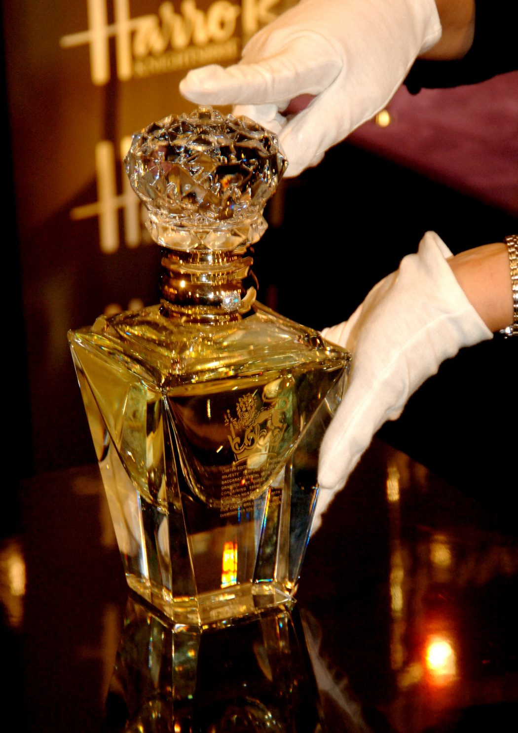 clive-christian-no-1-perfume-imperial-majesty-edition-on-display-at-harrods-department-store 10 Most Expensive Perfumes for Men in The World