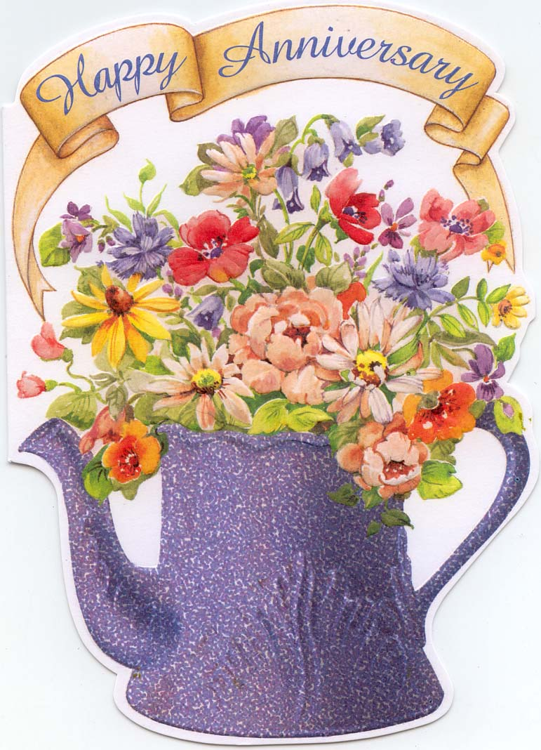 coffee-pot-with-flowers-happy-anniversary-card Anniversary Greeting Cards For Your Lover, Parents Or Partner