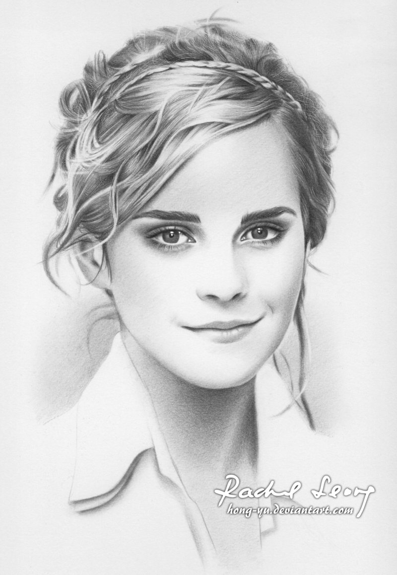 emma_watson_1_by_hong_yu-d4eirsy Stunningly And Incredibly Realistic Pencil Portraits