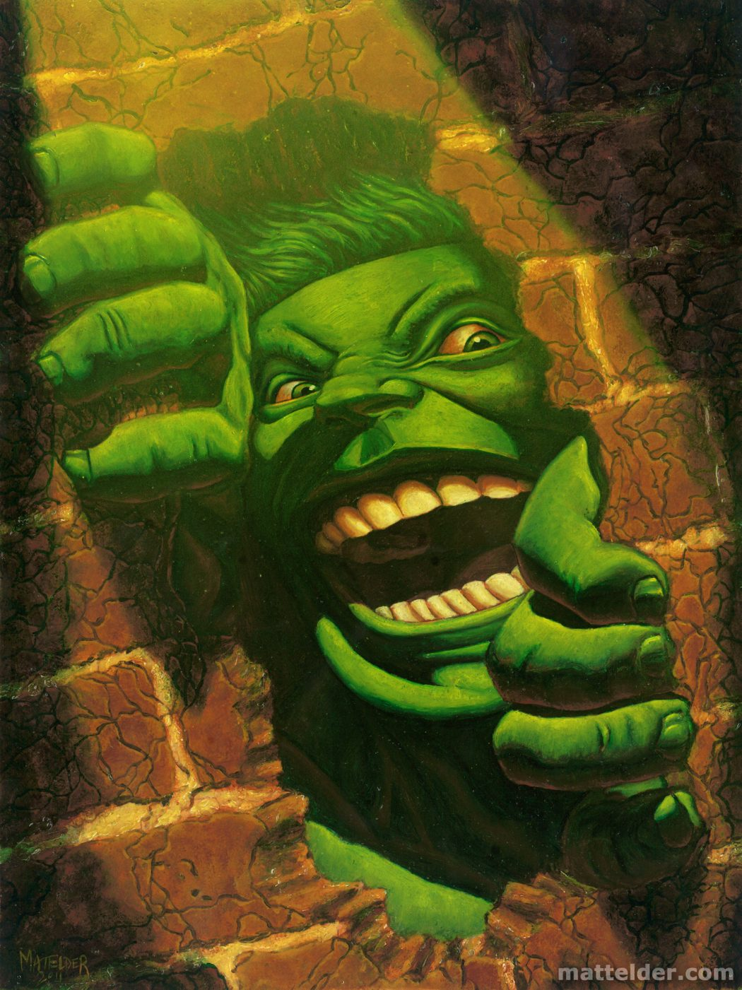 hulk_smash_brick_wall___oil_painting_by_mattelder- 25 Strangest Wall Paintings