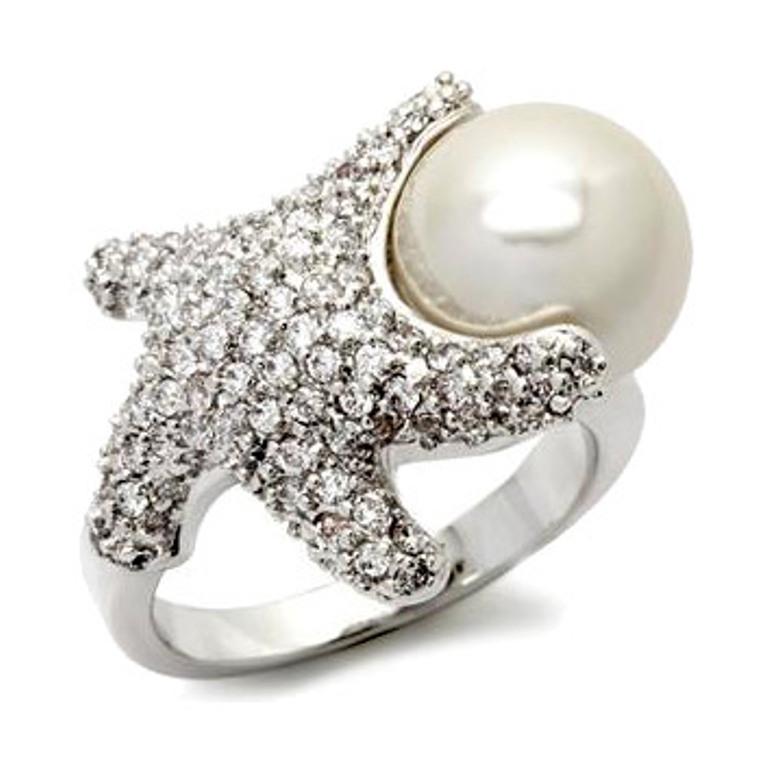 melonys-fine-imitation-diamond-starfish-and-white-pearl-ring Best 30 Inspiring Jewelry Designs