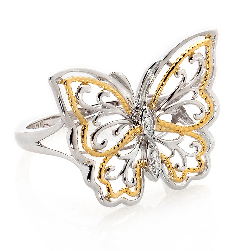 michael-anthony-jewelry-silver-diamond-accent-butterfly-ring Best 30 Inspiring Jewelry Designs