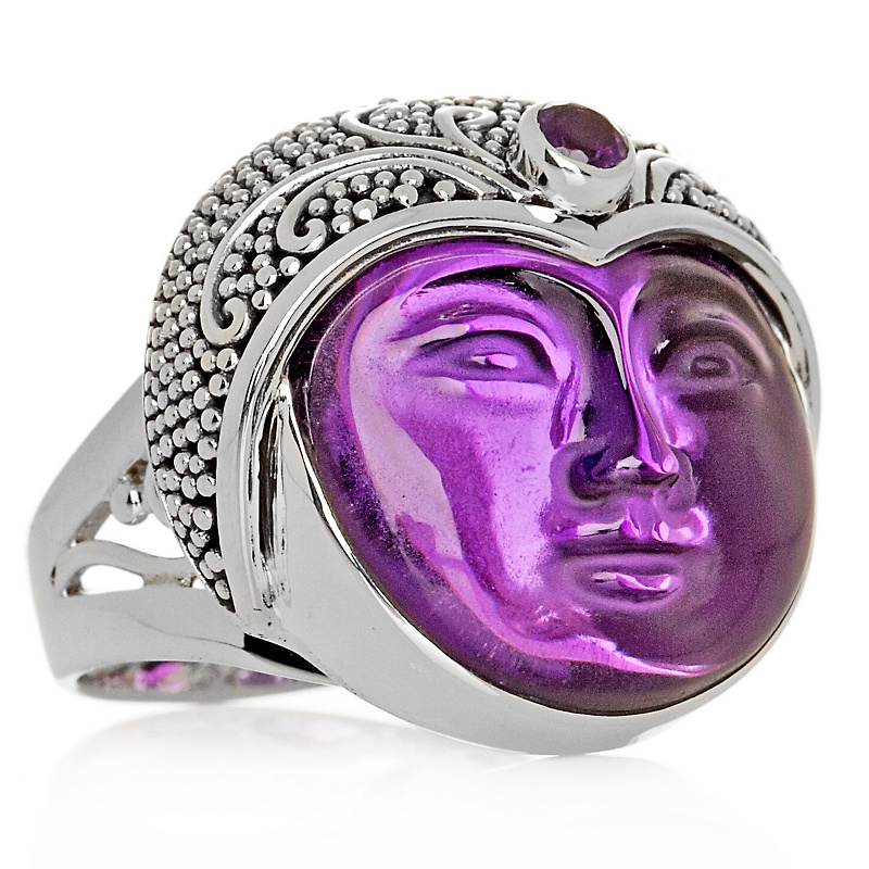 sajen-silver-purple-stone-goddess-face-ring 35 Goddess Jewelries for Those Who Like History