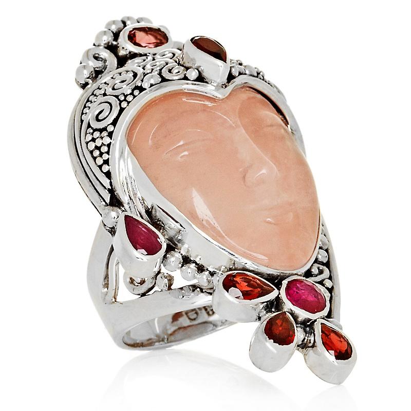 sajen-silver-rose-quartz-multigemstone-goddess-ring 35 Goddess Jewelries for Those Who Like History