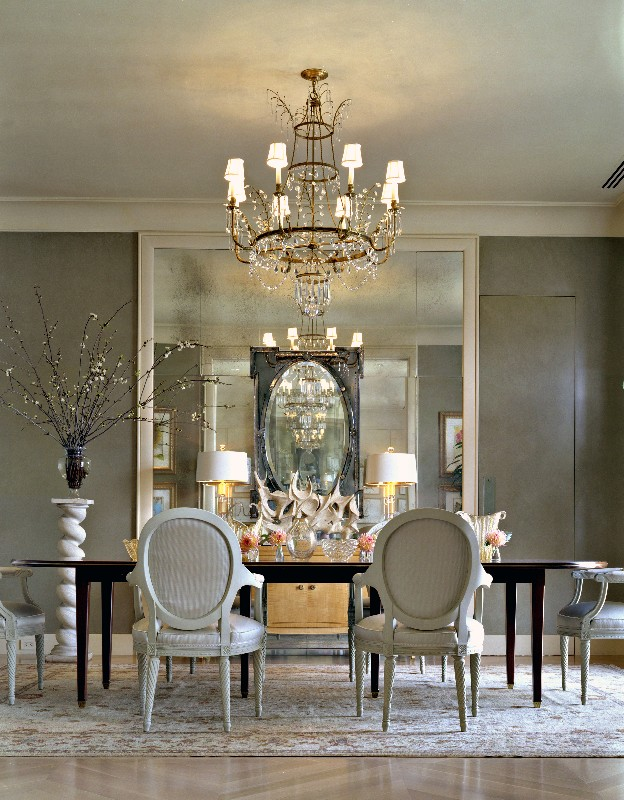 25 elegant black and white dining room designs pouted for Mirror ideas for dining room