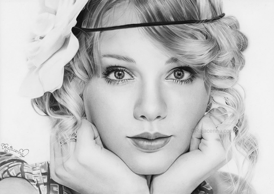taylor_swift_by_rajacenna_okt_10 Stunningly And Incredibly Realistic Pencil Portraits