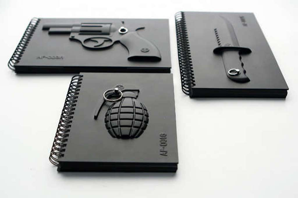 weapon-inspired-notebooks Creative and Unique Notebooks for Mitigating Your Anger