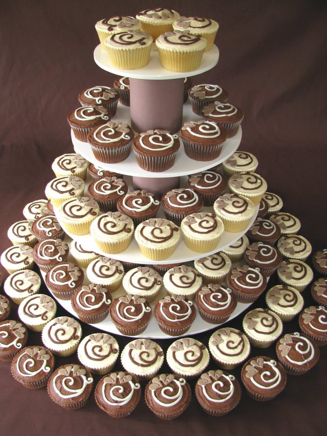Brown-White-Monogram-Wedding-Cupcake-Tower Cupcakes Are So Easy To Be Made At Home