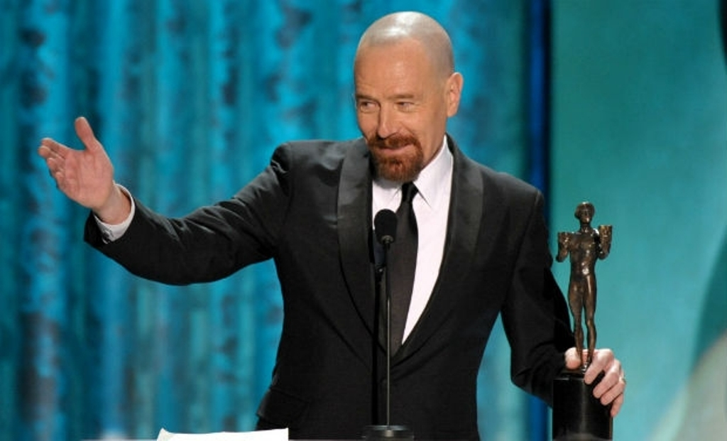 Bryan Cranston accepts the award for outstanding male actor in a drama series for 'Breaking Bad' at the 19th Annual Screen Actors Guild Awards