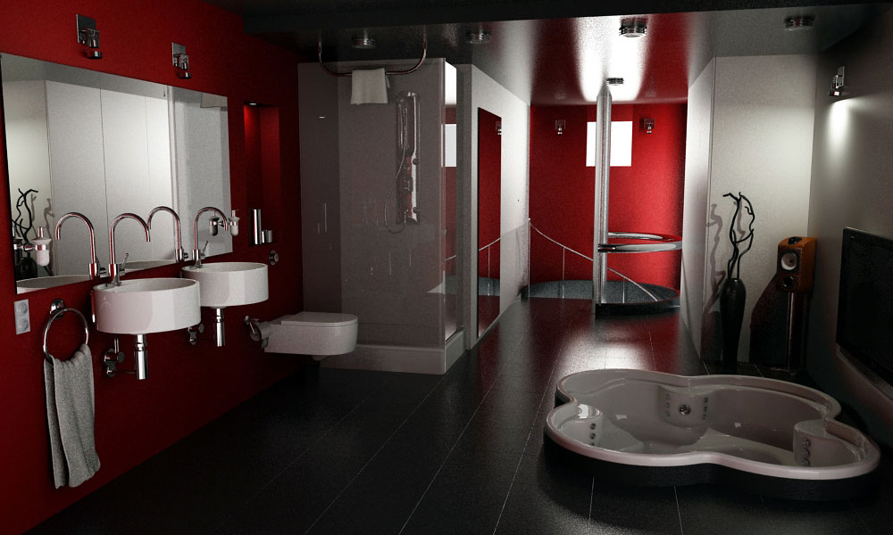 Colorful_Design_Red_Grey_Bathroom_Theme Fabulous And Stunning Colorful Bathrooms to Renew Yours