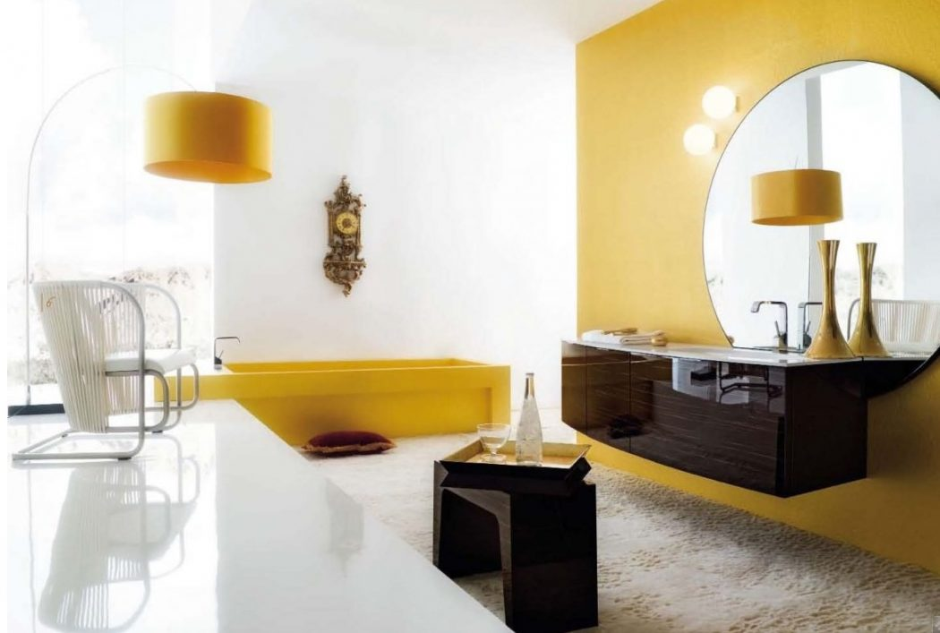 Extraordinary-Luxury-Bathroom-With-Yellow-Decor-Accents Fabulous And Stunning Colorful Bathrooms to Renew Yours