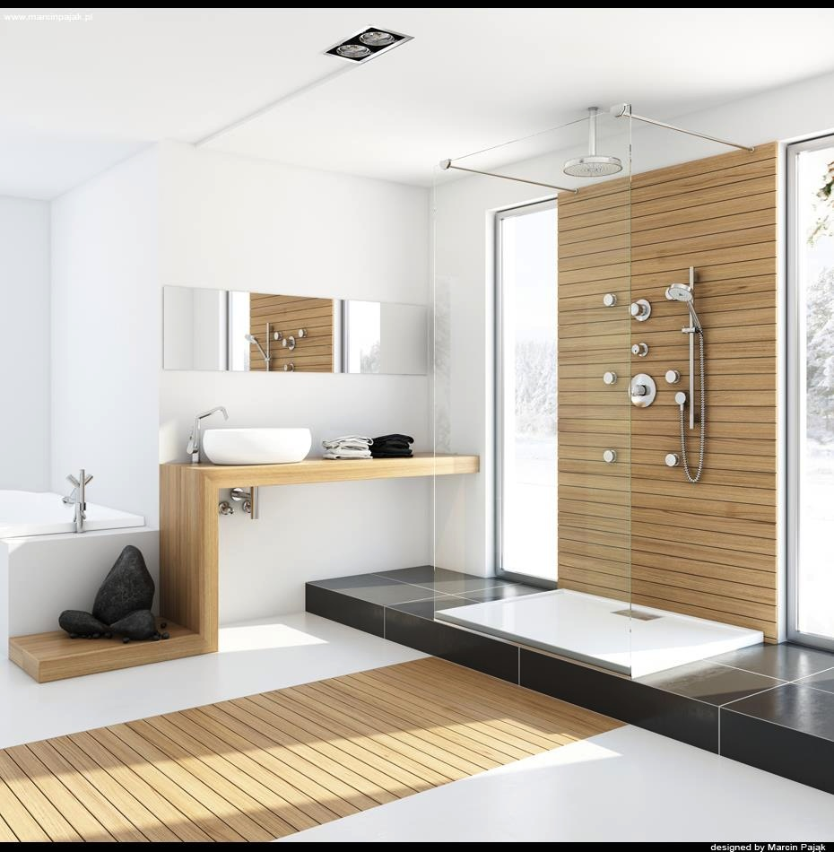 Modern-bathroom-with-unfinished-wood Fabulous And Stunning Colorful Bathrooms to Renew Yours